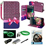 zte quartz protective phone case - ZTE Quartz Case, Mstechcorp Flip Wallet Pouch, Slim Folio Case with Kickstand, 2 Credit Card Slot, Currency Pocket, Hand Strap - For ZTE Quartz Z797C - Includes Accessories (Polka Dot Heart)