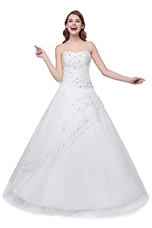 Cloverdresses Womens Sweetheart Ball Gowns Prom Dresses Beads Organza Quinceanera Dresses White (2, White