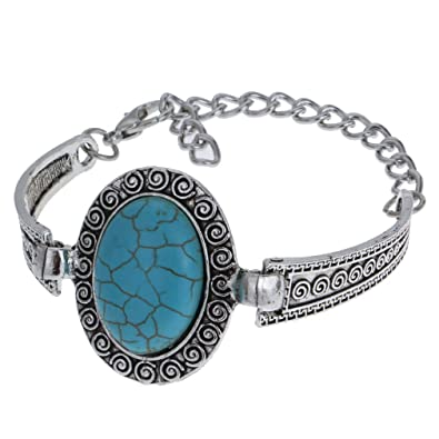 Yazilind Femmes Bijoux Argent Retro Turquoise Beads Oval 1 Pendentif tibétain  Bracelets réglables