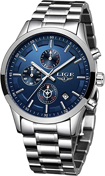 LIGE Relojes Hombre Acero Inoxidable Impermeable Analógico de Cuarzo Hombres Reloj Cronógrafo Plateado Azul Relojes Hombre Vestir: Amazon.es: Relojes