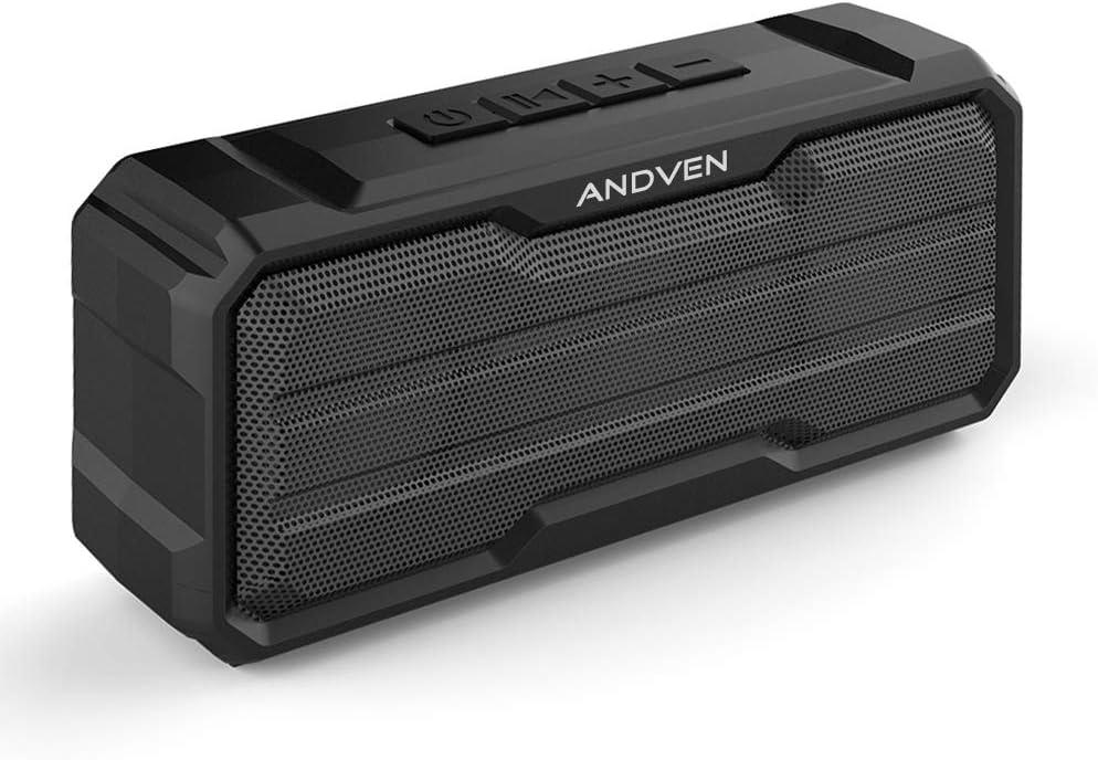 Altavoz Bluetooth Portátil, Andven 20W 360° Inalámbrico Sonido Estéreo con Doble Driver, TWS Funcion con Micrófono y Manos Libres, IPX6 Impermeable para Playa, Ducha, Viajes - Negro