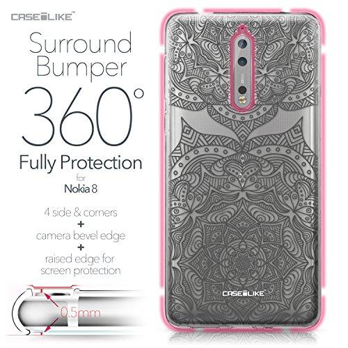 CASEiLIKE Funda Nokia 7 , Carcasa Nokia 7, Búho diseño gráfico 3315, TPU Gel silicone protectora cover Arte de la mandala 2304