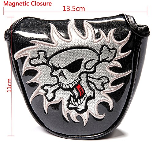 Crtystal Leather Skull Head Embroidery Style Golf Club Headcover Set Protector for Taylormade Titleist Callaway Ping Cobra Mizuno (Black Mallet Putter Cover)
