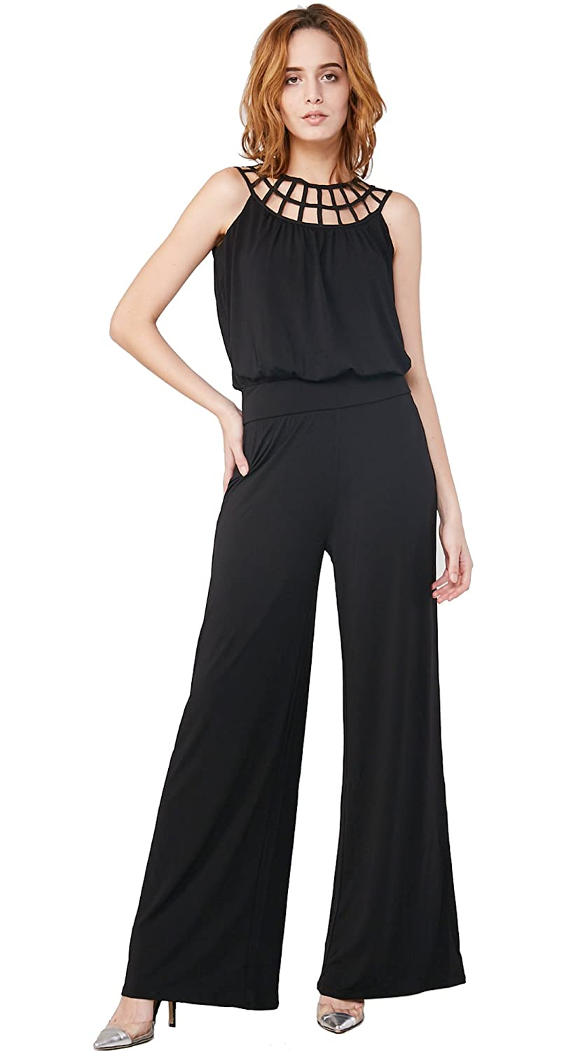 f7b47264344 Amazon.com  Escalier Women`s Wide Leg Jumpsuits Black Strap Hollow Out  Casual Jumpsuit Romper  Clothing
