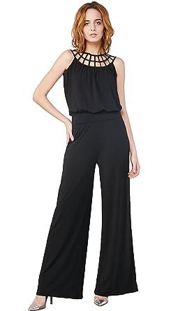6550afcdc2e Amazon.com  Escalier Women`s Wide Leg Jumpsuits Black Strap Hollow Out  Casual Jumpsuit Romper  Clothing