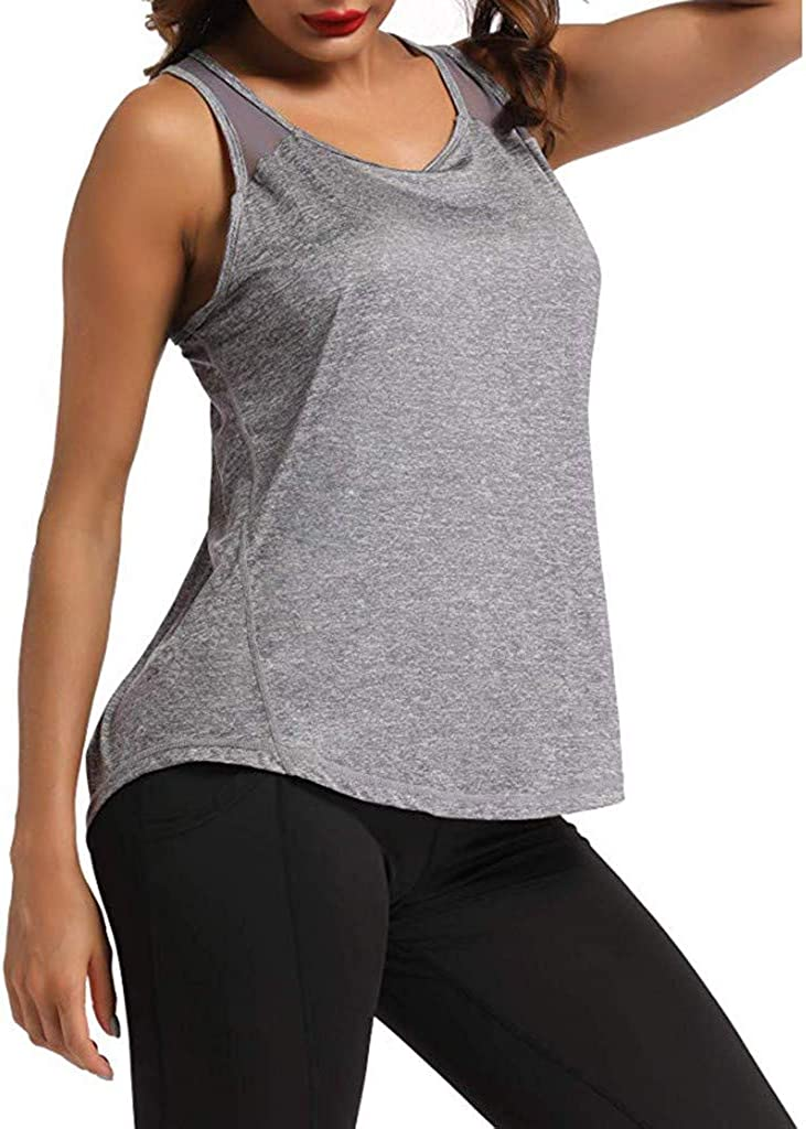 VEZAD Store Workout Tank Tops for Women,Sleeveless Strappy Athletic Tanks Exercise Gym Yoga Shirts