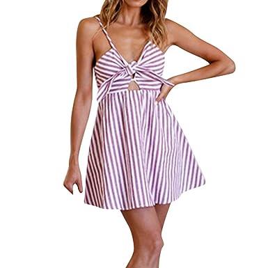 5dd29fe551acb ❤️LILICAT Femmes Summer Stripe Bow Off épaule Robe sans Manches Mini Robe  de soirée Fashion
