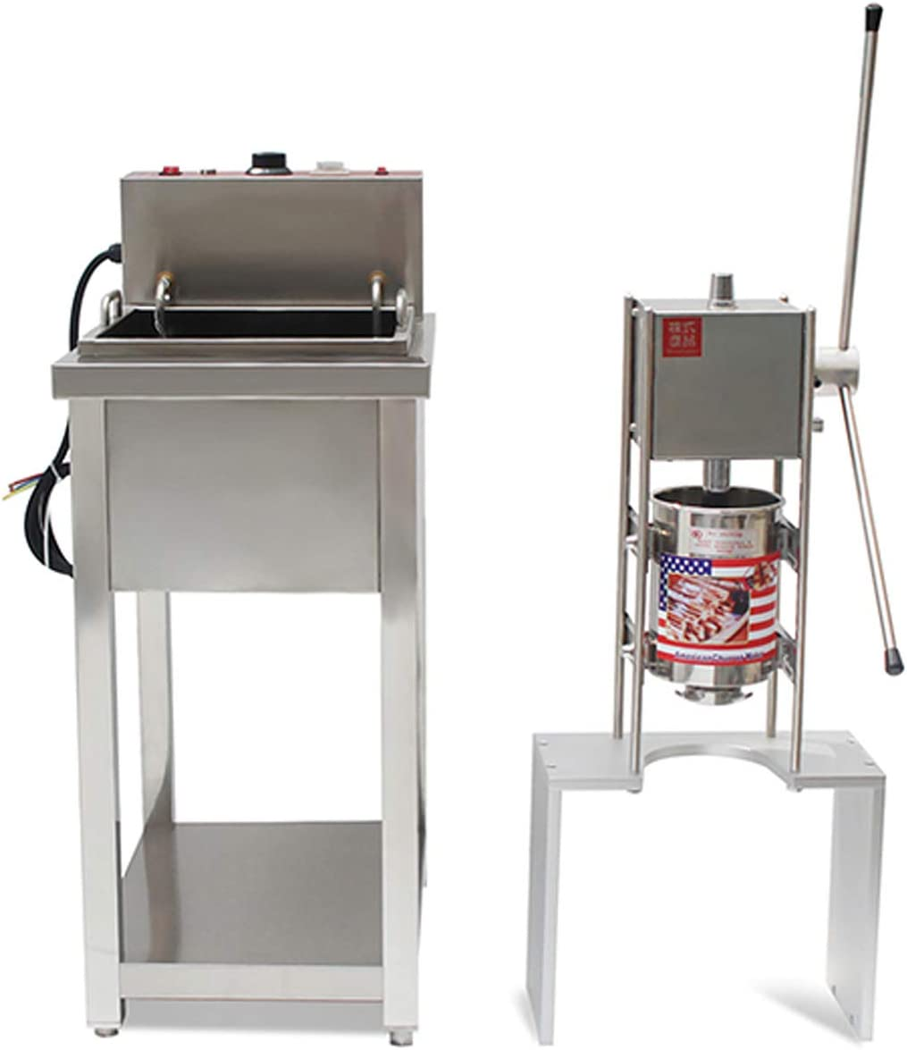 Wotefusi Churro Maker Machine 4000W 5L Commercial Stainless Steel Spanish Donut Churros Machine Maker Snack Equipment with 20L Electric Deep Fryer and Stand for Restaurant Home Use,110V