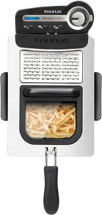 Oferta amazon: Taurus 973969000 - Freidora Professional 3 Plus Compact, 3 L, 1 kg de patatas, rápida y potente con 2600 W, sistema de filtrado del aceite, diseño compacto, inox