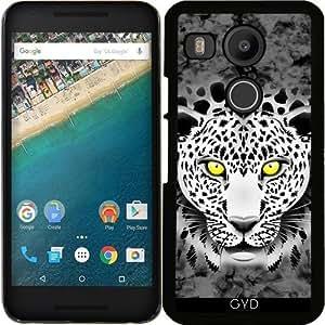 Funda para Google Nexus 5X (LG) - Leopardo Blanco Con Ojos Amarillos by BluedarkArt