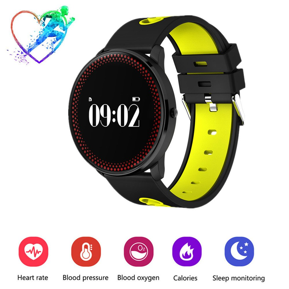 TechCode Smart Wristband Bracelet, Bluetooth Fitness Tracker Watches with Blood Pressure Heart Rate Monitor, Camera remote, Steps & Calories Tracker, Call/SNS/SMS Reminder for Man Woman Kids(Yellow)