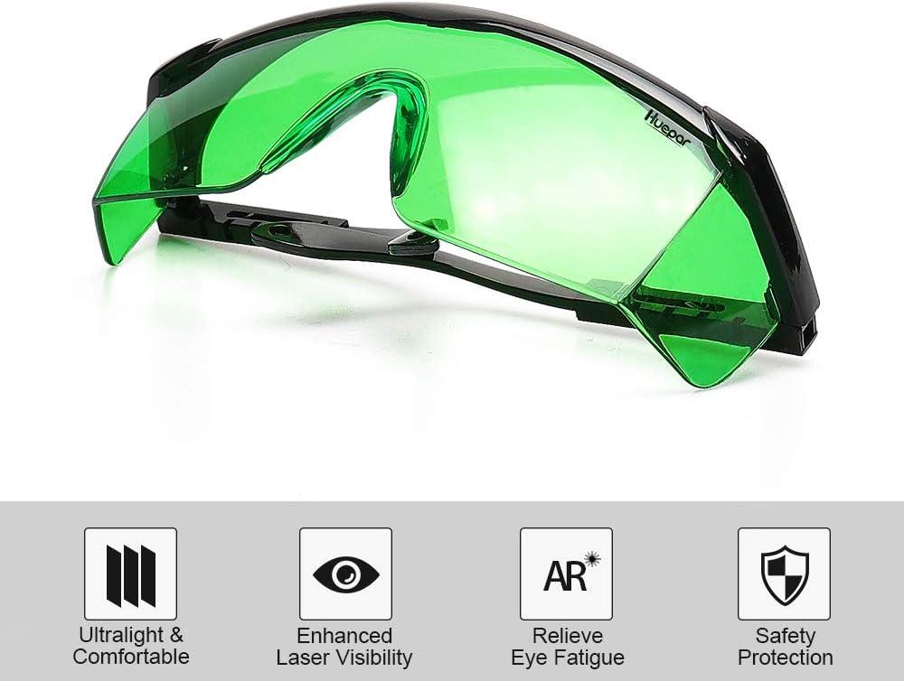 Huepar GL01G Lunettes Laser Vert Longueur de Bras Réglable de 9-11,4 cm Utilis
