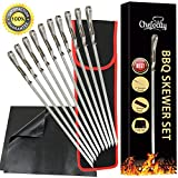 Chefocity BBQ Shish Kabob Skewers For Grilling, Stainless Steel 17'' Long, Extra Wide Flat Metal Skewers - Barbecue Grill Mats - Storage Bag - 13 Piece Set + Free Ebook