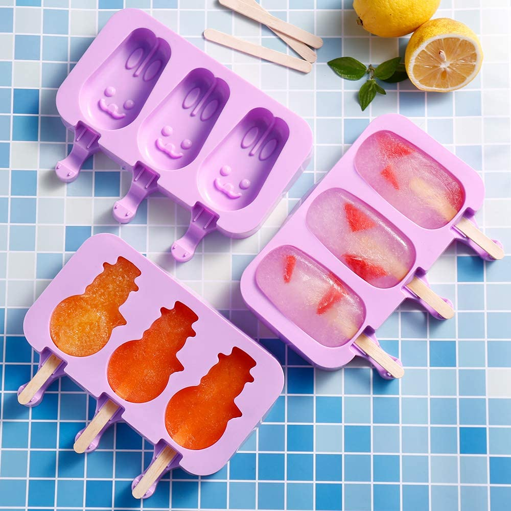 Silicone Ice Pop Molds 3 Cavities Homemade Ice Cream Mold with 100 Wooden Sticks /& 100 Popsicle Bag for DIY Ice Cream 2 Pack Popsicle Molds with Lids Oval