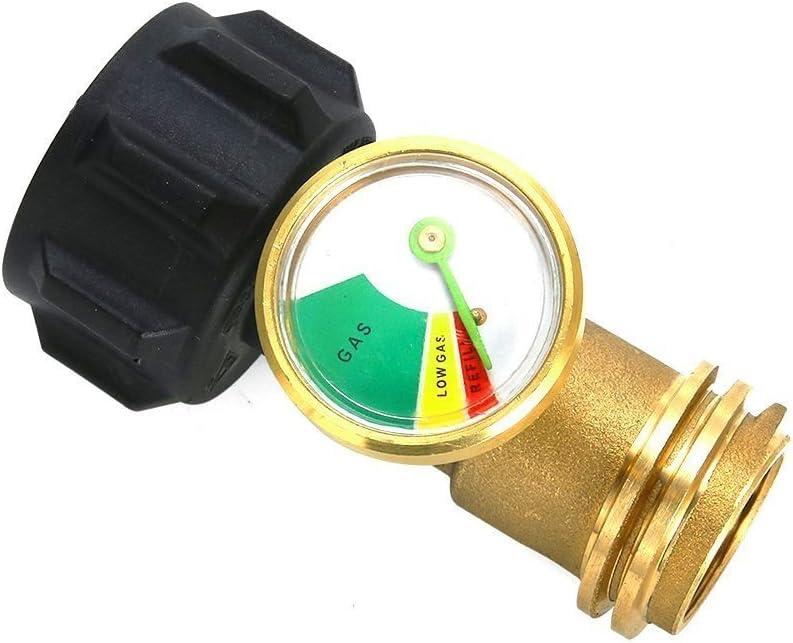MENSI Tanque de propano Adaptador Universal con medidor/Detector de Fugas para QCC1/Type1 Cilindros de Tanque de propano Gas presión meter-100% latón ...