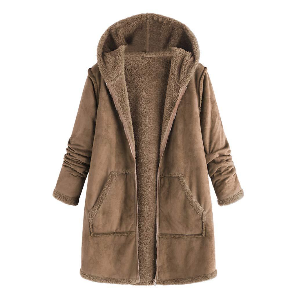 Doublelift Womens Winter Drawstring Hoodie Sweatshirt Coat Fleece Long Sherpa Lined Jacket S-5XL