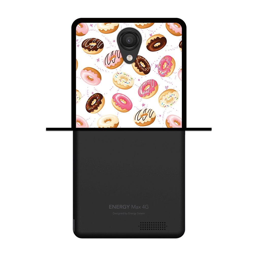 WoowCase Funda para Energy Phone MAX 4G, [Energy Phone MAX 4G ] Silicona Gel Flexible Donuts, Carcasa Case TPU Silicona - Negro