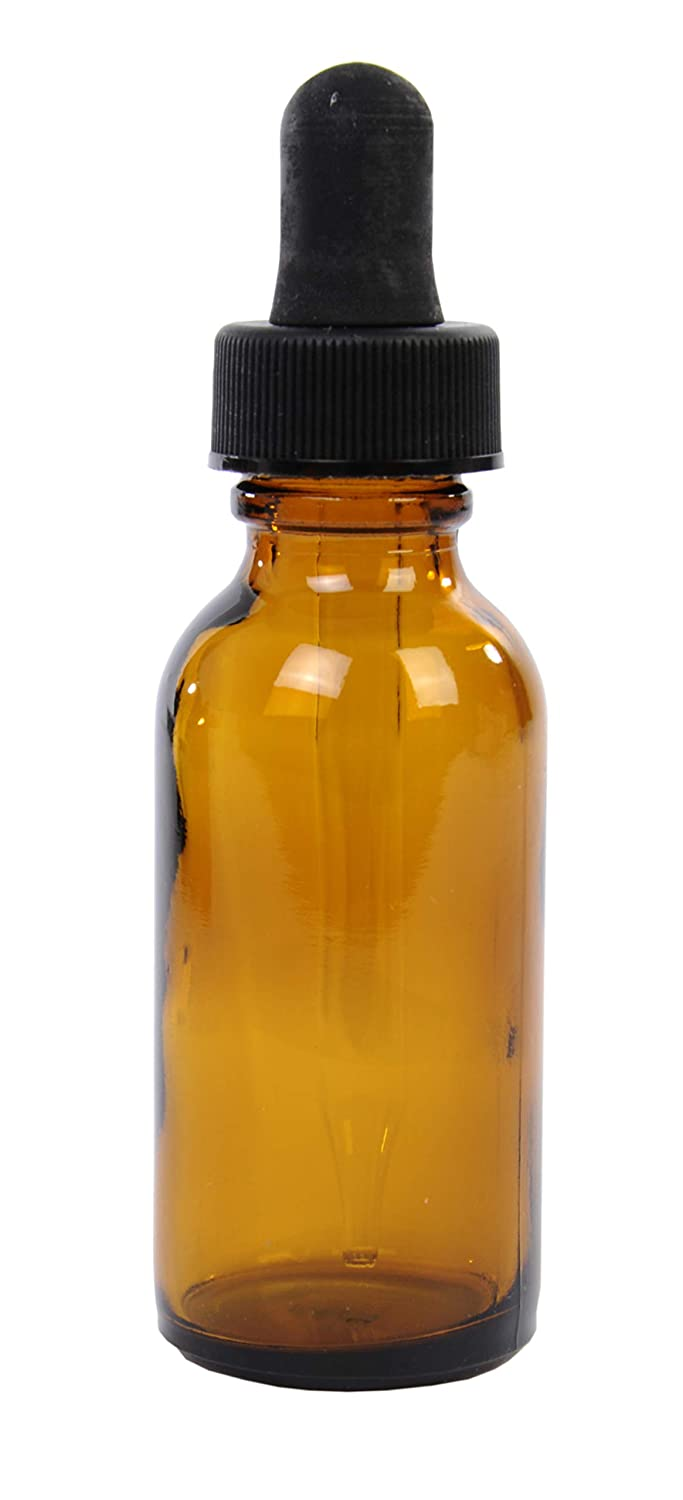 American Educational Glass Boston Round 1oz Amber Bottle with Dropper Pack of 12