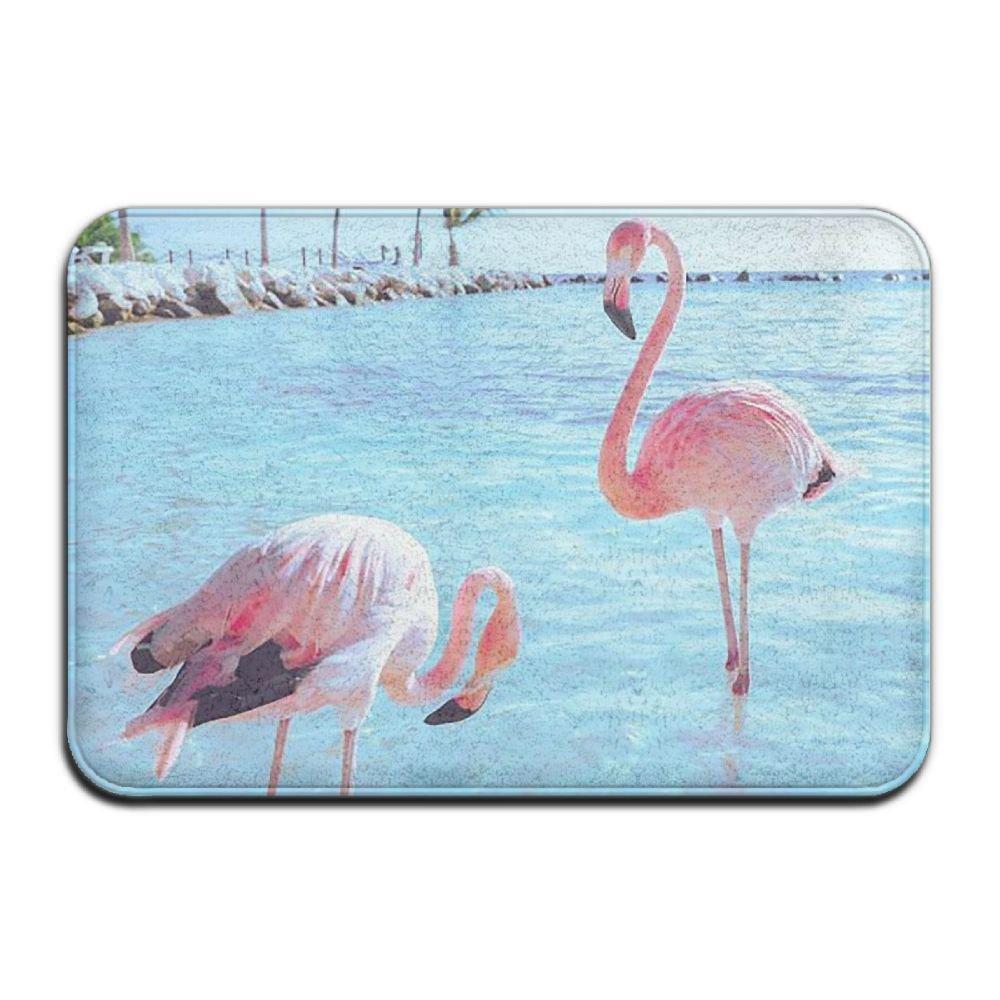 BINGO BAG Animal Pink Flamingo Indoor Outdoor Entrance Printed Rug Floor Mats Shoe Scraper Doormat For Bathroom, Kitchen, Balcony, Etc 16 X 24 Inch