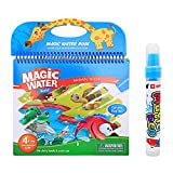 MIYUE Water Cloring & Painting Book, Water Reveal Pad, Magic Water Paint Coloring Activity Books with Water Wow Pen for Kids and Toddler, Animal Theme
