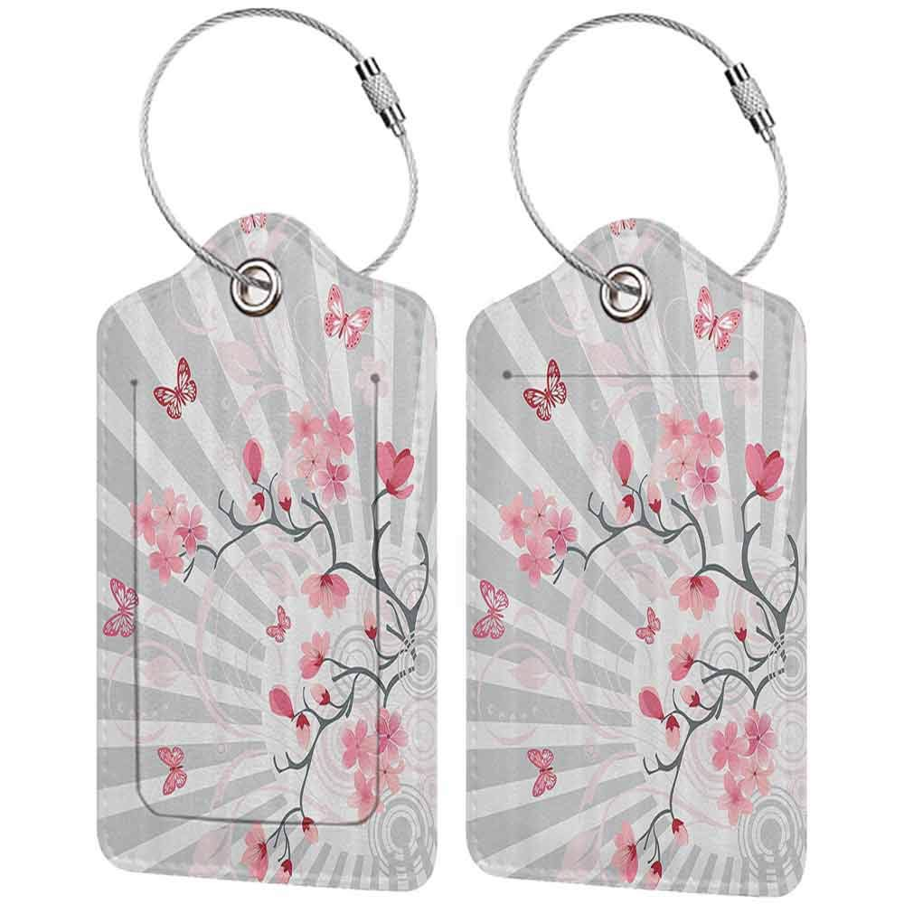 Flexible luggage tag Nature Cherry Blooming Butterflies on Stripes Sun Rays Curvy Lines Ornamental Artwork Fashion match Pale Grey Pink W2.7 x L4.6