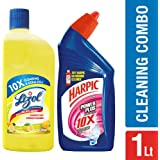 Harpic Powerplus - 500 ml (Rose) with Lizol Disinfectant Floor Cleaner - 500 ml (Citrus)
