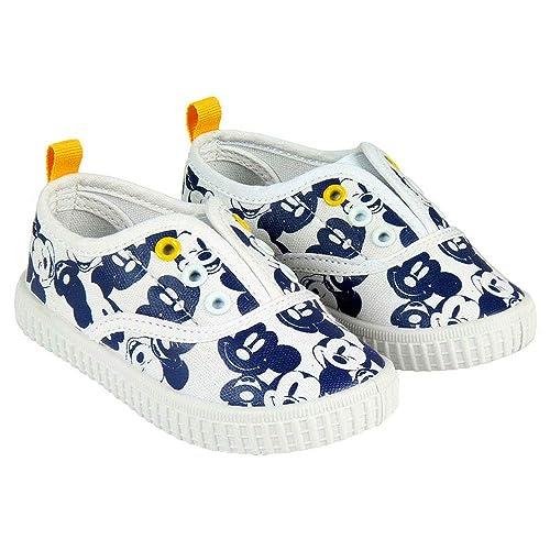 Zapatillas de Lona Niño Mickey Mouse Disney Sin Cordones, Blancos y Azules (Tallas 22