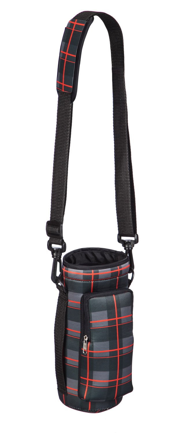 Cypress Home Plaid Neoprene Travel Water Bottle Carrier for Hiking, Strollers and Outdoor Activities