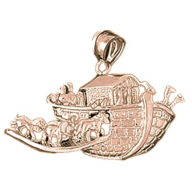 Rhodium-plated 925 Silver Noahs Ark Pendant with 16 Necklace Jewels Obsession Noahs Ark Necklace