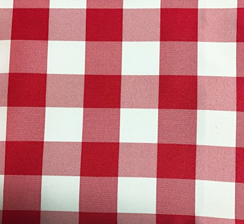 GFCC Red/White Gingham Checkered Polyester Tablecloth Round Picnic Tablecloth,120-Inch