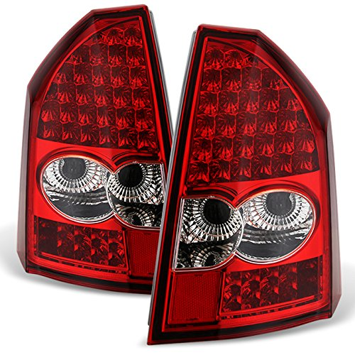Red Clear 05-07 Chrysler 300C LED Tail Lights Brake Lamp Replacement Driver And Passenger Side (Tail 300c Lamps)