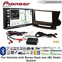 Volunteer Audio Pioneer AVIC-W8400NEX Double Din Radio Install Kit with Navigation, Apple CarPlay and Android Auto Fits 2008-2013 Toyota Highlander with Amplified System (Brown)