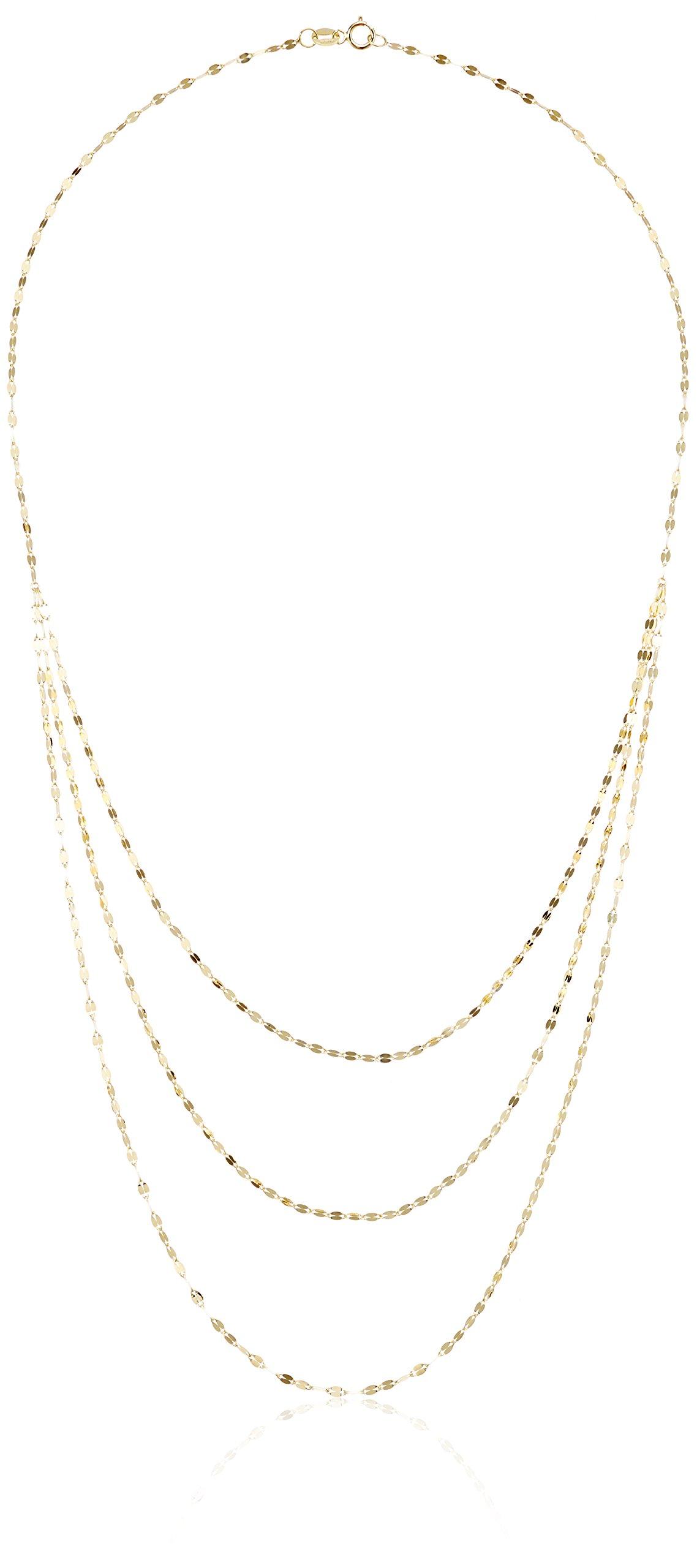 TreEsse Italian 10k Yellow Gold Three Strand Graduated Chain Necklace, 18''