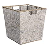 Buy Drum Coffee Table DII Decorative Woven Seagrass Trapezoid Cube with Metallic for Bathroom & Home Organization Solutions to Enhance Décor & Add Functionality (Large Cube - 13x13x13
