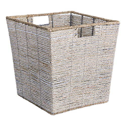 DII Decorative Woven Seagrass Trapezoid Cube with Metallic for Bathroom & Home Organization Solutions to Enhance Décor & Add Functionality (Large Cube - 13x13x13