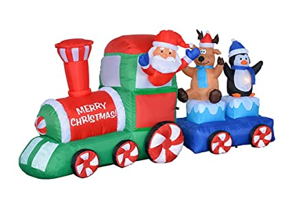 7 foot long lighted christmas inflatable santa claus reindeer penguin on train indoor outdoor garden yard - Lighted Train Christmas Decoration