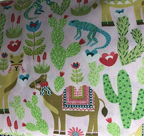 Camel Cactus Lizard Cotton Quilting Fabric by the Half Yard 44