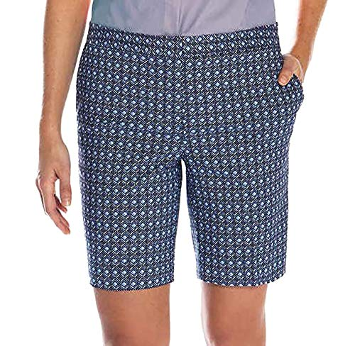 Mario Serrani Womens Italy Comfort Stretch Shorts with Tummy Control (8, Blue Pattern) ()