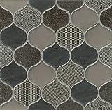 Bedrosians GLSPANVELRDP ''Panache'' Mosaic with Rain Drop Pattern on Sheet, 10'' x 10-1/2'', Velvet