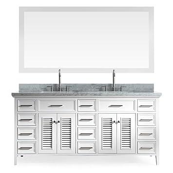 Amazoncom Ariel D073D WHT Kensington 73 Solid Wood Double Sink
