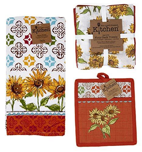 Kay Dee Sunflower Autumn Potholder, Terry Towel, and Flour Sack Towels Elegant Rust Orange Value 5pc Set