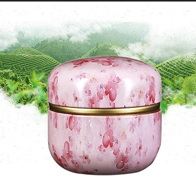Coffee Tea Storage Tin Box Home Small Can Durable Floral Round Holder Case C