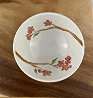 Handmade Small Porcelain Bowl, Hand Painted in Cherry Blossom Pattern