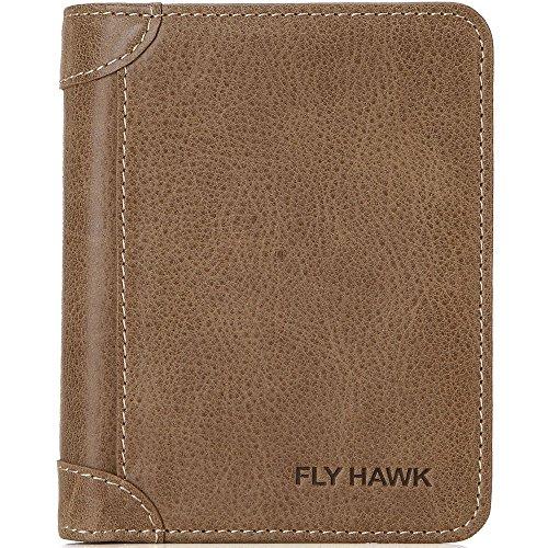 Classic Leather Billfold - FlyHawk Men Western Classic Leather Wallet, ID Wallet Card Holder Purse for Men Khaki Vertical Wallets