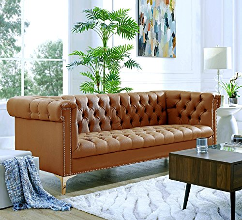 Chestnut Sofa Set (Oxford Brown Leather Chesterfield Sofa - Gold Metal Y-Legs | Button Tufted | Nailhead Trim | Modern | Living room | Inspired Home)