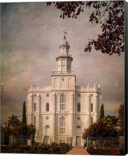 LDS St. George Temple by Ramona Murdock Canvas Art Wall Picture, Museum Wrapped with Black Sides, 14 x 18 inches