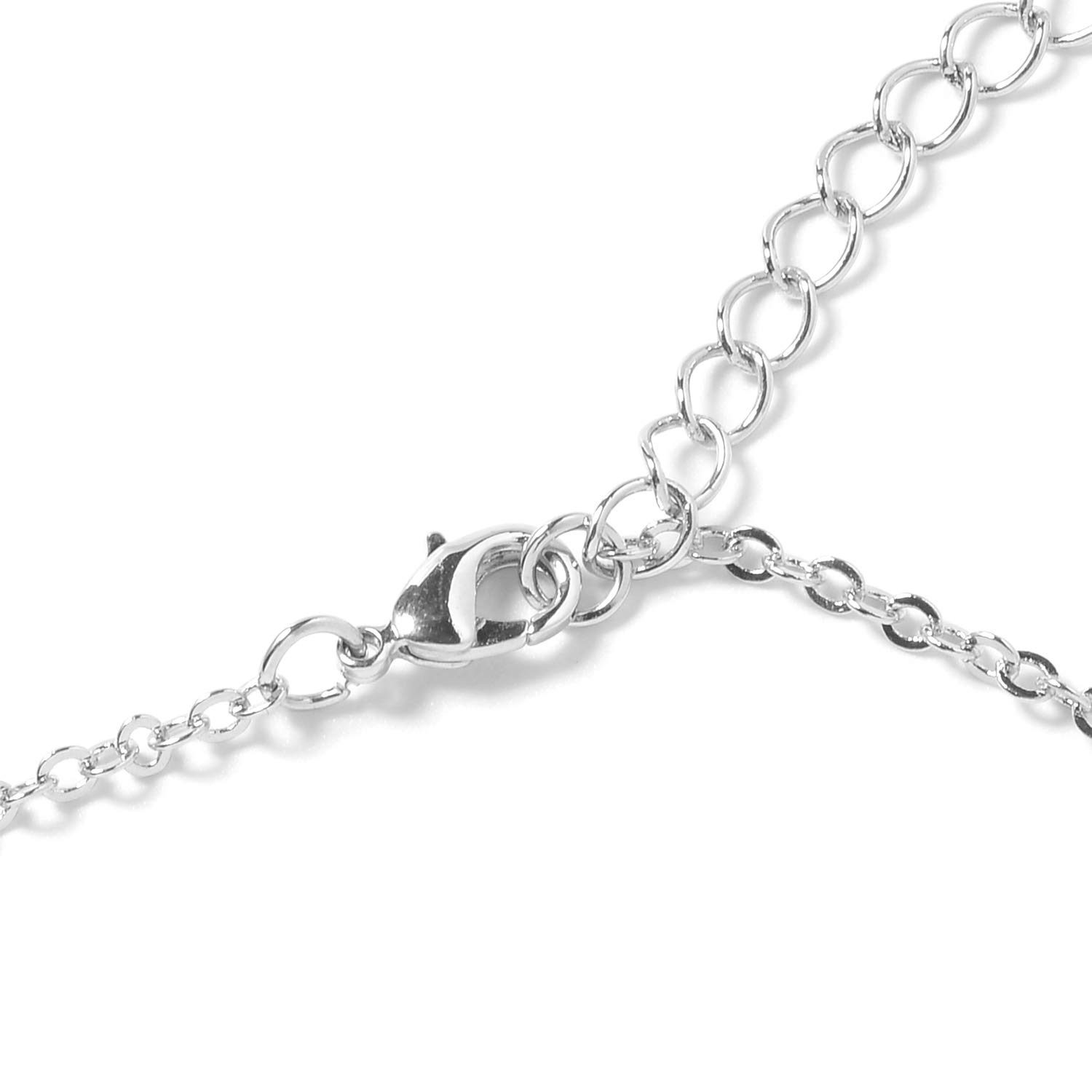 Shop LC Delivering Joy Silvertone White Glass Chain Pendant Necklace for Women Gift Jewelry 29 Cttw 9.8