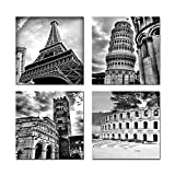 Wieco Art - Architectures Modern 4 Piece Giclee Canvas Prints Europe Buildings Black and White Landscape Pictures Paintings on Canvas Wall Art Ready to Hang for Bedroom Home Office Decorations