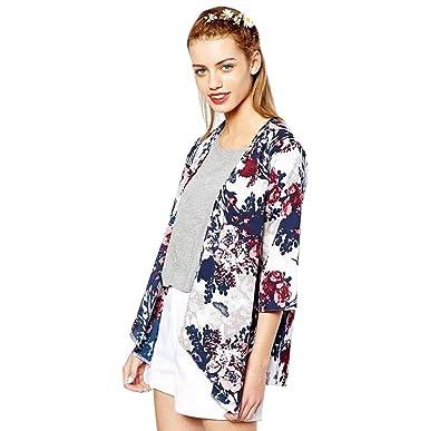 Sannysis Mujeres Chaqueta Impreso Gasa Kimono Blusa Cardigan