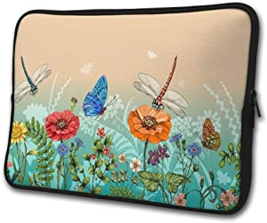 SWEET-YZ Laptop Sleeve Case Dragonflies and Butterflies Notebook Computer Cover Bag Compatible 13-15 Inch Laptop